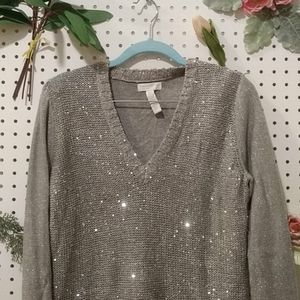 Silver Deep-V Sweater with Sequins
